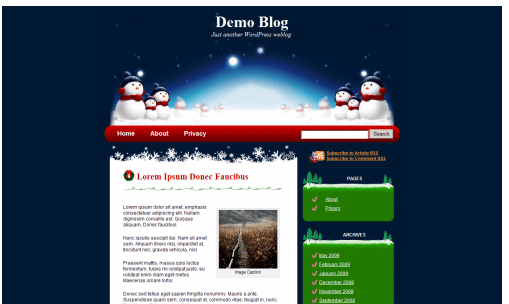 a beautiful theme that incorporates a family of snowmen in the dark blue night background the sidebar has christmas trees and candy canes and the header - Christmas Themes Free