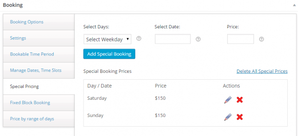 $100 for weekdays and $150 for weekends- Special Pricing feature