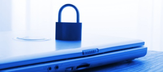 notebook and padlock showing internet or website security concept