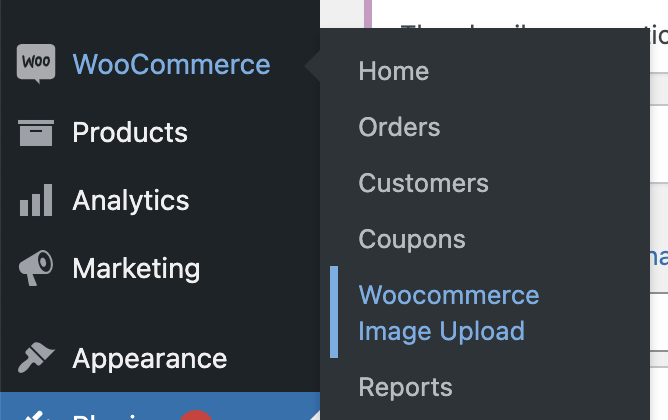 WooCommerce Image Upload sub-menu